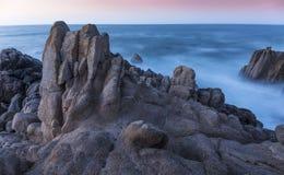 Rocky Coastline at Twilight - Monterey Bay, California Royalty Free Stock Photo