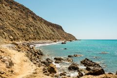 A rocky coastline view in Pissouri Bay not far from the tourist beach, Cyprus Stock Photos