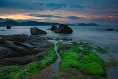 Rocky Coastline Vung Lam Bay Vietnam Royalty Free Stock Photo