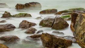 Rocky Coastline Vung Lam Bay Vietnam Stock Photo