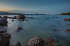 Rocky Coastline Vung Lam Bay Vietnam Stock Photo