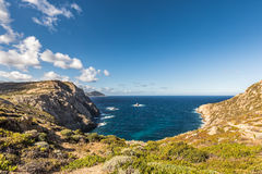 Rocky coastline of west coast of Corsica at Revellata near Calvi Stock Photo