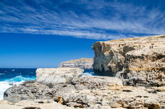 Rocky coastline where Azure Window collapsed in Gozo Island, Malta. Stock Photography