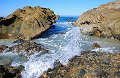 Rocky coastline between Woods Cove and Pearl Street Beach, Laguna Beach, CA. Stock Photos