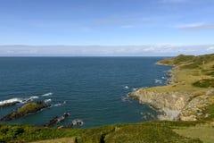 Rocky coastline at Woolacombe bay, Devon Stock Photography