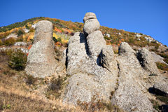 Rocky columns in Crimea mountains.Wild landscape. Royalty Free Stock Image