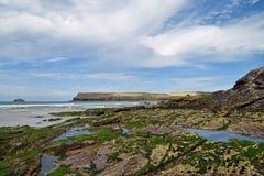 Rocky Cornish coast. A rocky Cornish beach on a sunny day Stock Photos