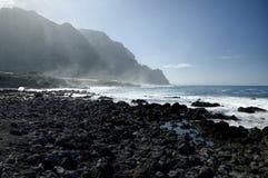 Rocky Costadel Buenavista strand, Tenerife, kanariefågel, Spanien Fotografering för Bildbyråer