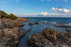 Rocky coves on the Cote d'Azur Stock Image