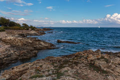 Rocky coves on the Cote d'Azur, Royalty Free Stock Photography
