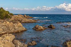 Rocky coves on the Cote d`Azur,. France royalty free stock photo