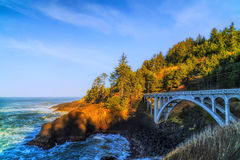 Rocky Creek Bridge na costa de Oregon Foto de Stock Royalty Free
