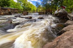Rocky creek with cascades in Sweden. Rocky creek with cascades in southern Sweden Royalty Free Stock Photo