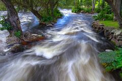 Rocky creek with cascades in Sweden. Rocky creek with cascades in southern Sweden Stock Images