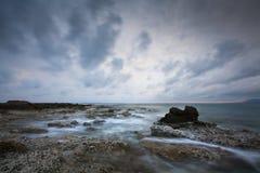 Rocky Cretan shore, Greece. Royalty Free Stock Photos