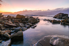Rocky Daybreak Seascape. The Skillion at Terrigal, Central Coast, NSW, Australia Stock Images