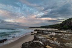 Rocky Daybreak Seascape. Taken at Birdie Beach, Munmorah on the Central Coast, NSW, Australia Royalty Free Stock Photos