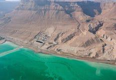 Rocky Dead sea shore. Birdseye view of the rocky Dead sea shore in Israel Royalty Free Stock Photography