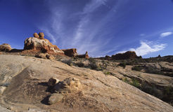 Rocky desert in Arches National Park, Utah Royalty Free Stock Images