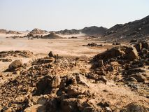 Rocky desert in egypt royalty free stock photos