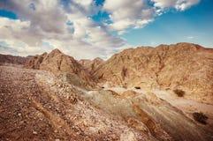 Rocky desert landscape. Dramatic landscape of the Negev desert in Israel royalty free stock photo