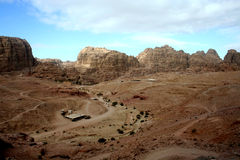 Rocky desert landscape of Petra, Jordan Royalty Free Stock Photography