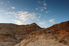 Rocky desert landscape at sunset Royalty Free Stock Image