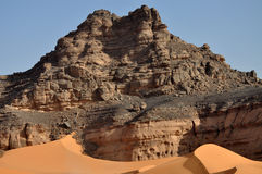 Rocky Desert, Libya. Desert mountains at Acacus in the Western Libyan Sahara stock photos