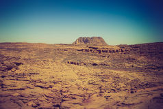 Rocky desert, the Sinai Peninsula, Egypt. Filtered image:cross processed vintage effect royalty free stock photography