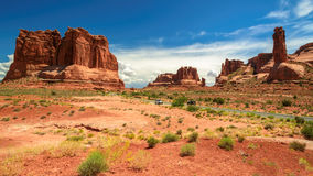 Rocky Desert Utah Highway, Arches National park Stock Photos