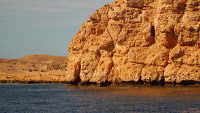 The rocky deserted seashore. Sinai Egypt. View from ship stock video