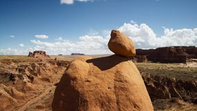 Rocky deserts are scorched by the sun and scoured by windblown sand. Desert rock is shaped into strange, otherworldly lanscapes. Beautiful nature concept stock image