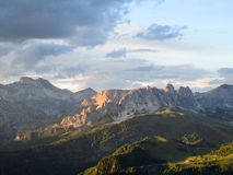 Rocky Dolomite Alps view at sunset Stock Photo