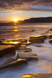 Rocky Dorset Coastline at sunset Royalty Free Stock Photos