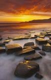 Rocky Dorset Coastline at sunset Royalty Free Stock Images
