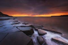Rocky Dorset Coastline at sunset Royalty Free Stock Photography