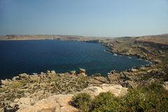 The rocky and dramatic shoreline of Malta. `s north west coast Royalty Free Stock Photo