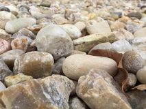 Rocky, dry river bed abstract. Rocks and leaves lie dormant on the bed of a long ago dried up stream Royalty Free Stock Photos