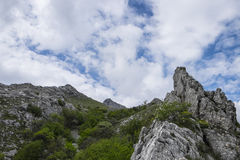 Rocky edge of mountain, mount Catria, Apennines, Marche, Italy. Rocky edge of mountain, blue sky with clouds, Corno of mount Catria, Apennines, Marche, Italy Royalty Free Stock Photo