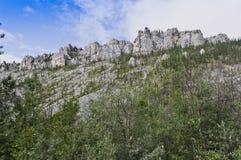 Rocky eroded mountain ridge Stock Photos