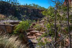 Rocky escarpment on the side of the river at Katherine Gorge, Australia Royalty Free Stock Photos