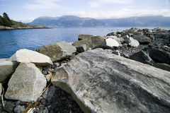 Rocky fjord coast Royalty Free Stock Photo