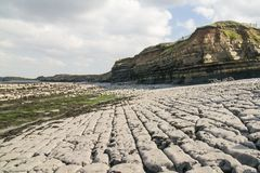 The rocky floor of the beach at East Quantoxhead in Somerset. The beach and cliffs at East Quantoxhead in Somerset, showing the deeply carved limestone floor and royalty free stock images