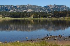 Rocky foothills Reflecting in Lake Estes. Reflection of the foothills in Lake Estes at Estes Park, Colorado stock images