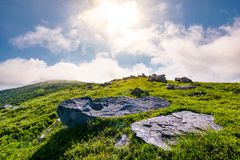 Rocky formation on grassy hillside. Beautiful scenery of Runa mountain in summertime. location Carpathian mountains, Ukraine stock photos