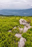 Rocky formation on a grassy slope in mountains. Lovely nature scenery on an overcast summer day Stock Image