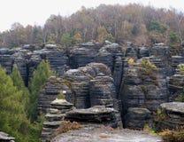 Rocky formation in Tiske steny rocks in Labske piskovce Royalty Free Stock Images