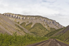 Rocky formations along the Dempster Highway Stock Photos