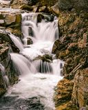 Rocky Gorge Falls, Conway NH. Thundering Switft River flowing over the Rocky Gorge Falls.  The is an easy water fall to get to as it is right off the Kancamagus Stock Photography