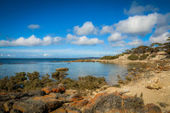 A rocky headland. Calm water in a sheltered bay in Port Lincoln Stock Photos